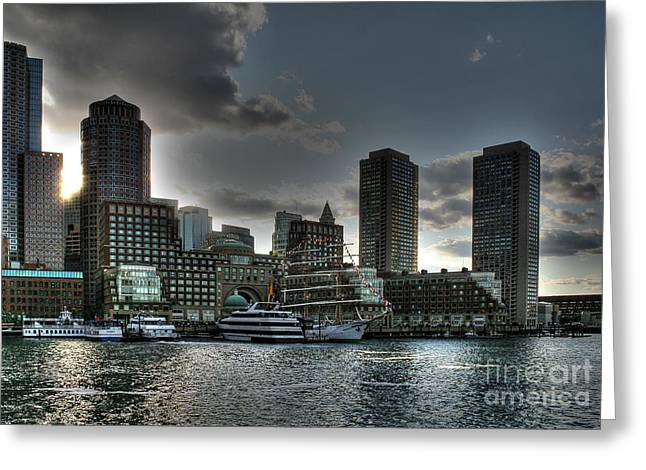 Greeting Card featuring the photograph Night Fall At The Harbor by Adrian LaRoque