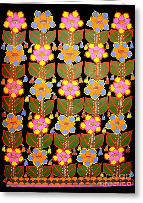 Night Flower-madhubani Paintings Greeting Card