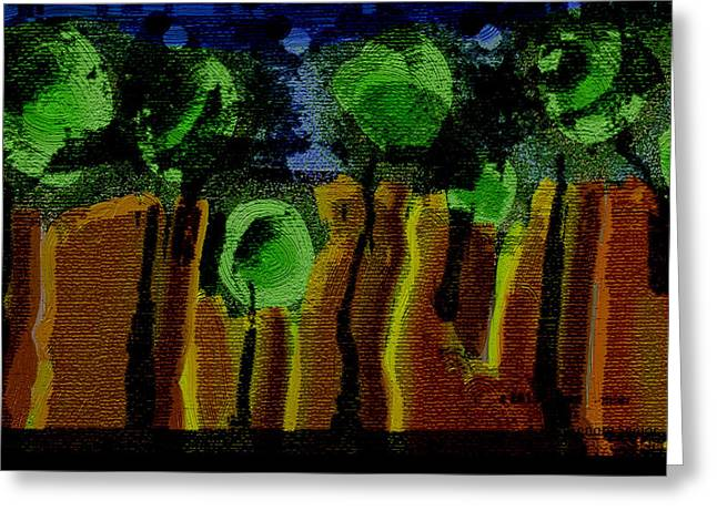Night Forest Tapestry Greeting Card by Lenore Senior