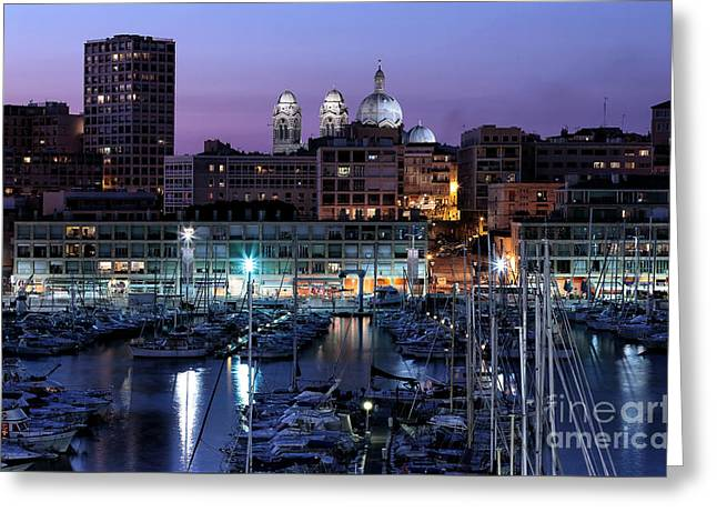 Night Glow In The Port Greeting Card by John Rizzuto