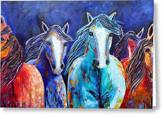 Greeting Card featuring the painting Night Horse Rendezvous by Jennifer Godshalk