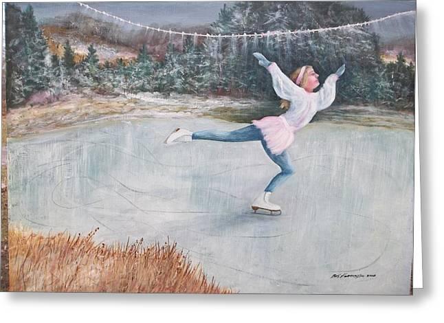 Night Ice Skater Greeting Card