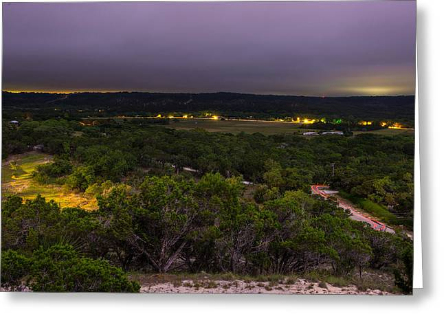 Night In A Texas Hill Country Valley Greeting Card