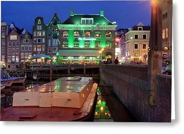 Night In Amsterdam Greeting Card by Artur Bogacki
