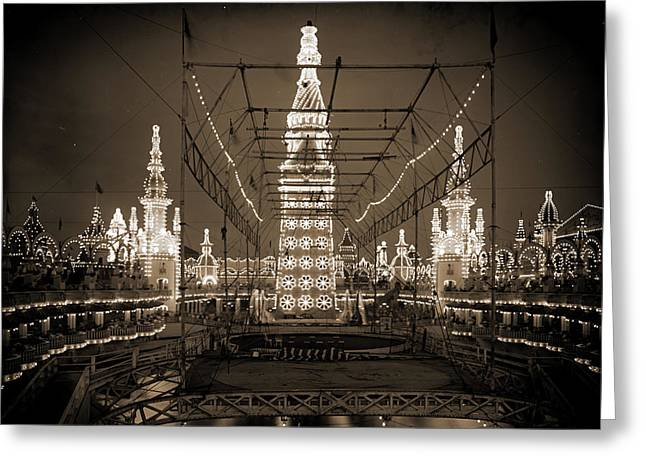 Night In Luna Park, Coney Island Greeting Card by Litz Collection