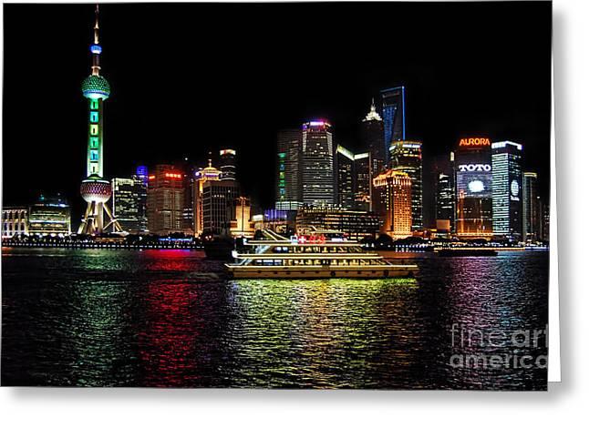 Night In Pudong Greeting Card by Alexandra Jordankova
