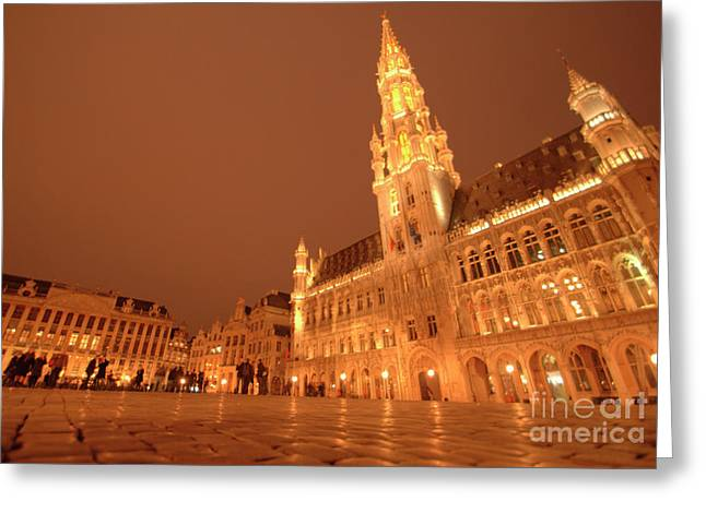 Night In The Grand Place Greeting Card