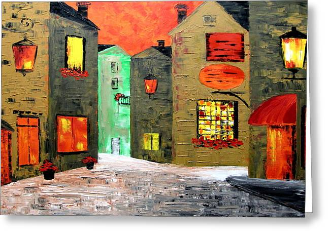 Night In The Town Greeting Card by Mariana Stauffer