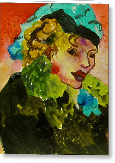 Night Lady Ruby Greeting Card by Carole Johnson