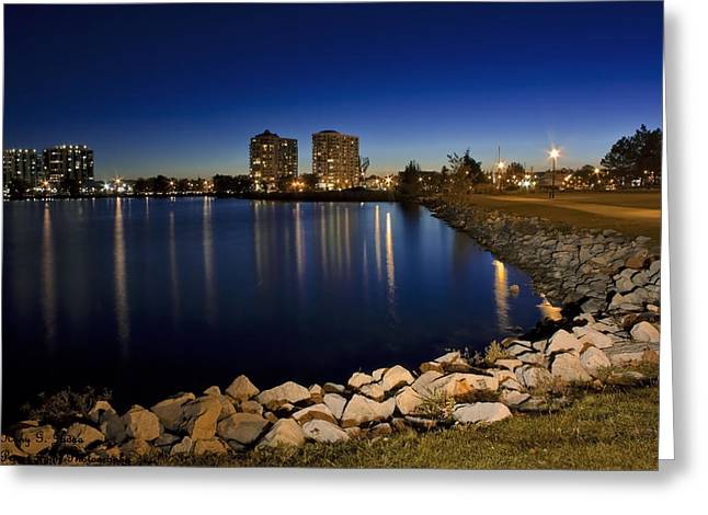 Night Light In Barrie Greeting Card