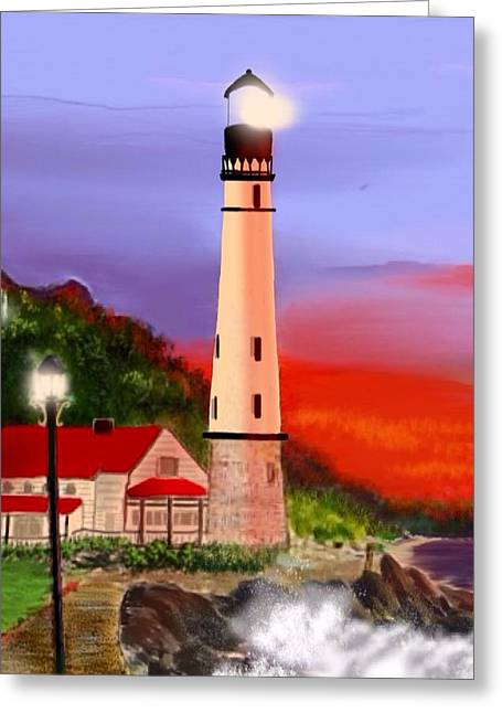 Greeting Card featuring the digital art Night Lights 2 by Anthony Fishburne