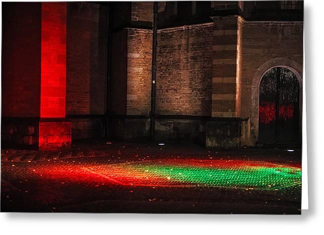 Night Lights In Utrecht. Trajectum Lumen Project. Pieterskerk. Netherlands  Greeting Card by Jenny Rainbow