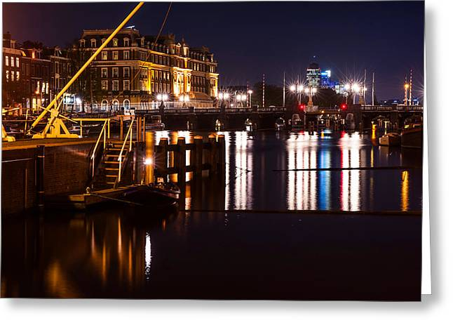 Night Lights On The Amsterdam Canals 2. Holland Greeting Card by Jenny Rainbow
