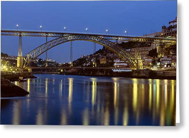 Night, Luis I Bridge, Porto, Portugal Greeting Card by Panoramic Images