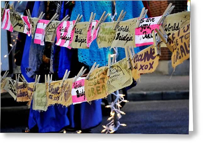 Night Market Tags Greeting Card by Marina Slusar