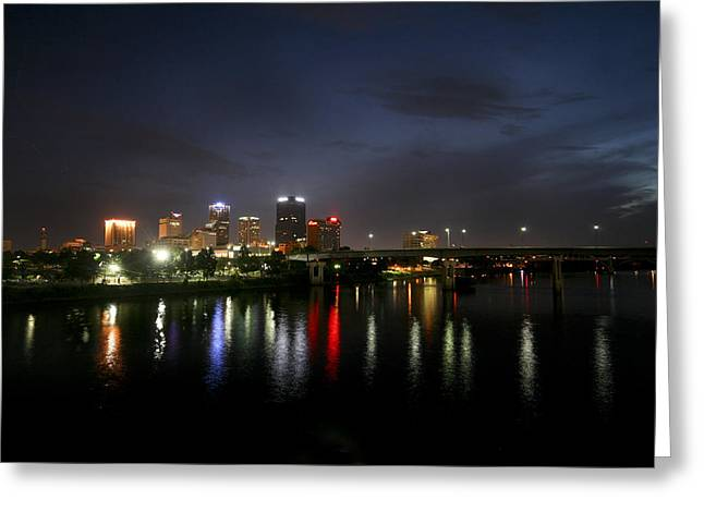 Night On The Junction Bridge Greeting Card