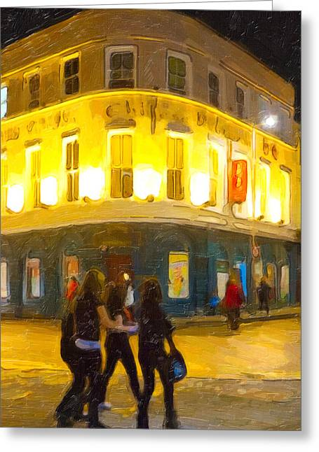 Night On The Town In Galway Greeting Card