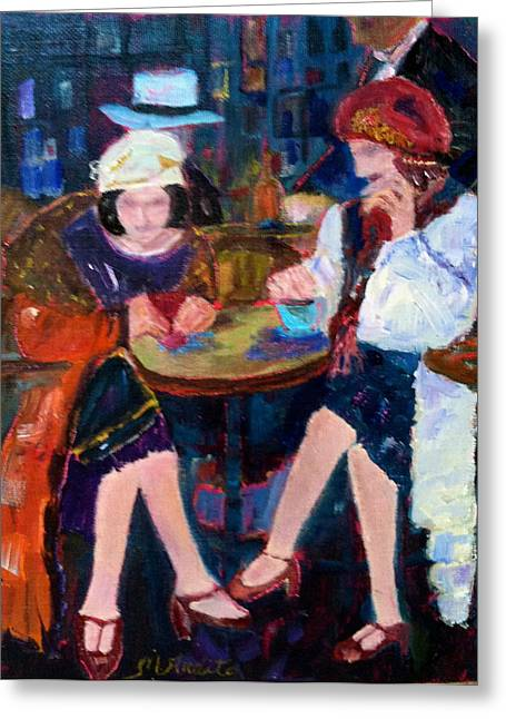 Night On The Town Greeting Card by MaryAnne Ardito