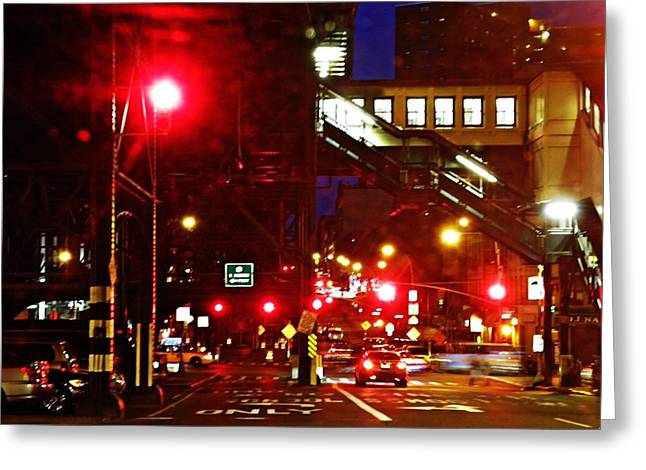 Night On West 125 Street Greeting Card by Sarah Loft
