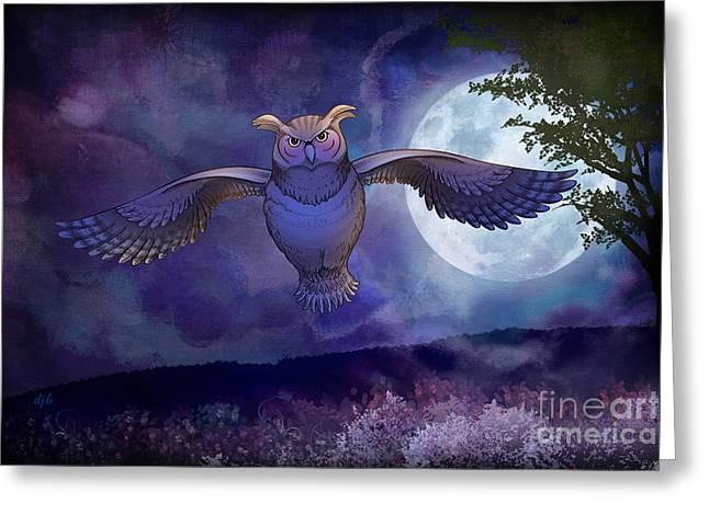 Night Owl Greeting Card by Bedros Awak