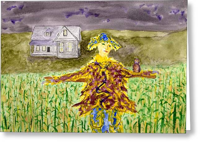 Night Owl Scarecrow Greeting Card