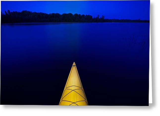 Night Paddle Greeting Card by Steve Gadomski