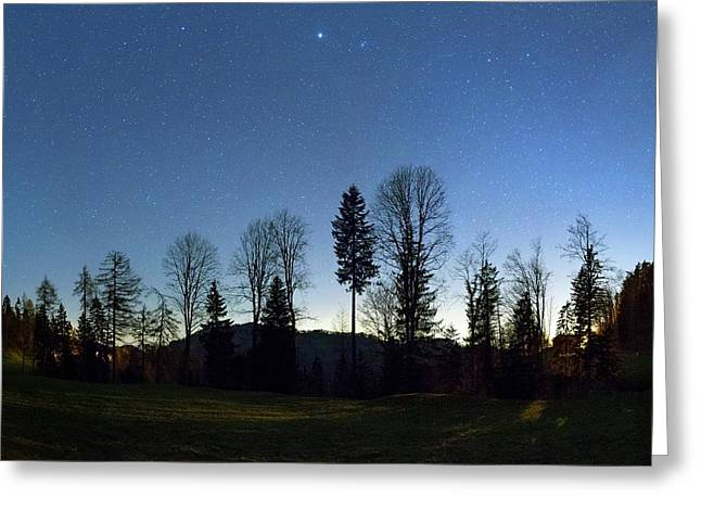 Night Panorama With Stars Greeting Card by Dr Juerg Alean