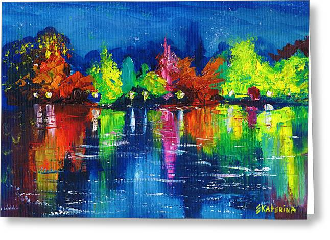 Night Park By The River Lanterns Trees Greeting Card