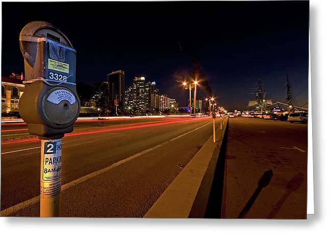 San Diego Harbor Greeting Cards - Night Parking Meter Greeting Card by Peter Tellone