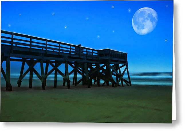 Night Pier Moon And Stars Greeting Card by Elaine Plesser