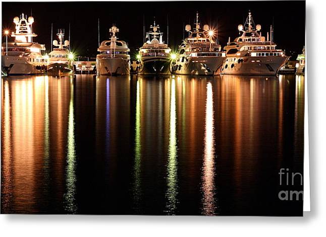 Night Reflections In The Harbor Greeting Card