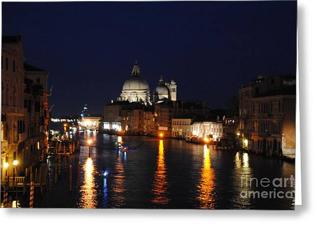 Night Reflections On Grand Canal Greeting Card by Jacqueline M Lewis