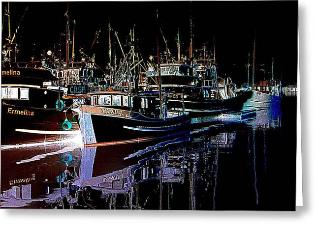 Night Reflections Greeting Card by Shirley Sirois