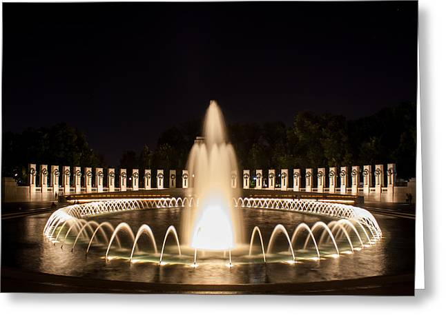 Night Reflections Wwii Memorial  Greeting Card