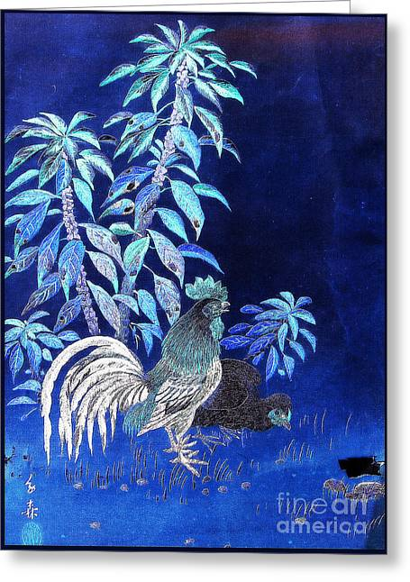 Night Rooster Greeting Card by JCYoung MacroXscape
