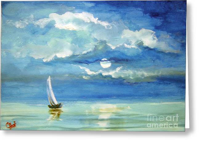 Greeting Card featuring the painting Night Sail by Carol Hart