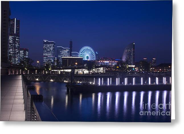 Night Scene In Blue Of Minatomirai In Yokohama Greeting Card