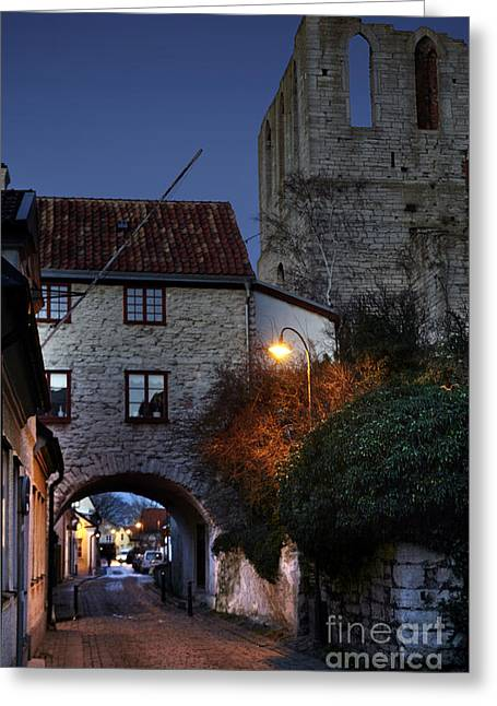 Night Scene In Medieval Town Greeting Card by Ladi  Kirn