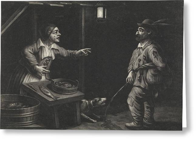 Night Scene Of A Fishmonger And A Man Urinating Greeting Card by Jan Van Der Bruggen