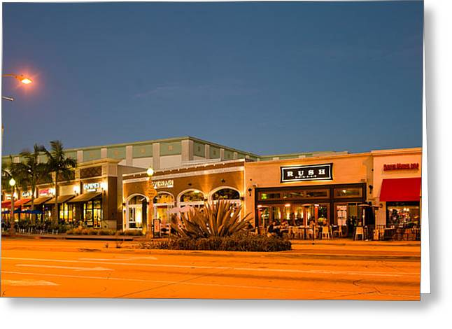 Night Scene Of Downtown Culver City Greeting Card by Panoramic Images