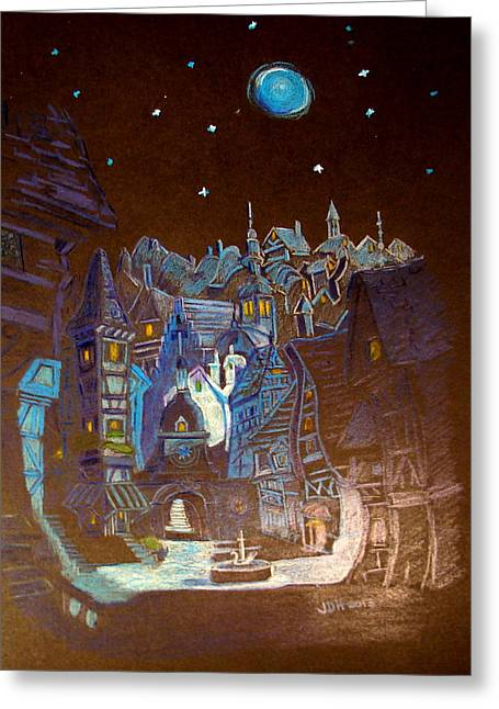 Greeting Card featuring the drawing Night Scene Tangled Town by Joseph Hawkins