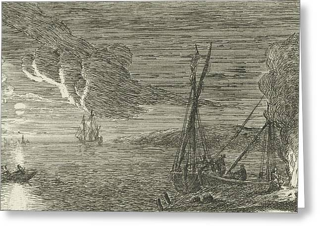 Night Scene With Fishermen Standing By A Fire Greeting Card