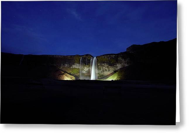 Night Shot Of Seljalandsfoss Greeting Card