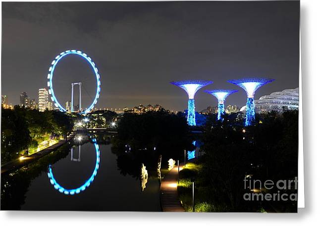 Night Shot Of Singapore Flyer Gardens By The Bay And Water Reflections Greeting Card
