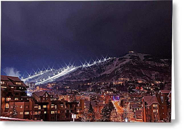 Night Ski Area Greeting Card