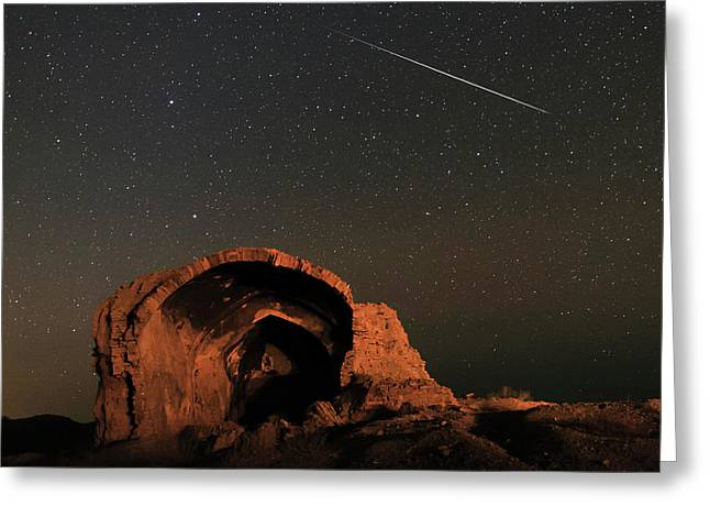 Night Sky Over Ancient Ruins Greeting Card