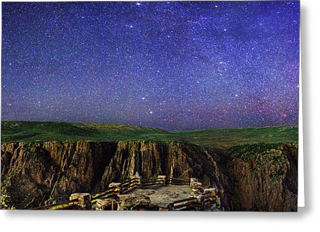 Night Sky Over Black Canyon Greeting Card by Walter Pacholka, Astropics