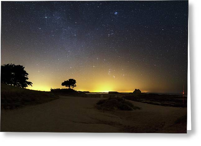 Night Sky Over Coastal Sands Greeting Card by Laurent Laveder