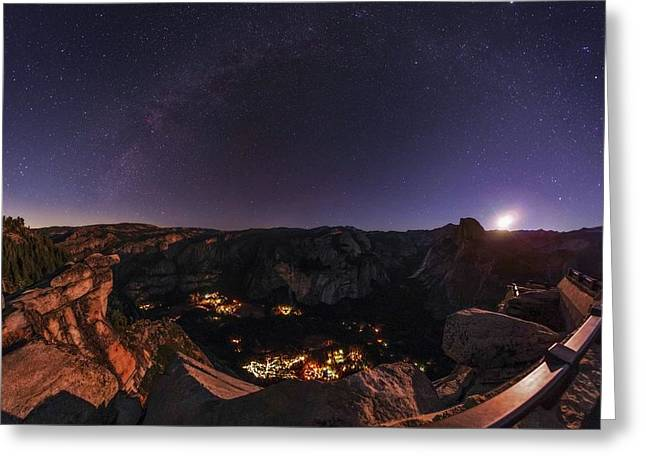 Night Sky Over Glacier Point Greeting Card by Babak Tafreshi