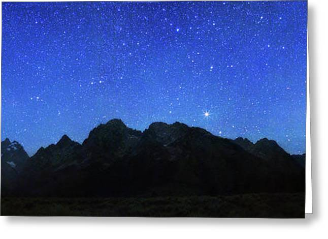 Night Sky Over Grand Teton National Park Greeting Card by Walter Pacholka, Astropics